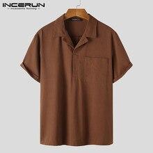 Casual Shirt Blouse Short-Sleeve Collar Streetwear INCERUN Vintage Solid-Color Summer Men