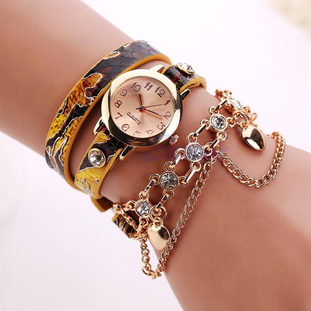 Fashion Watch  Women Multilayer Rhinestone Rivet Round Dial Analog Quartz Chain Bracelet Watch Reloj Mujer Relogio Feminino