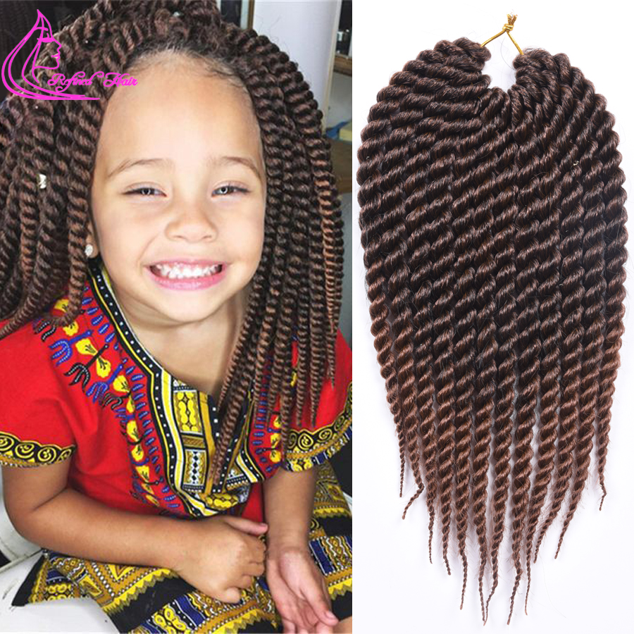 Refined Hair 12 18Inch Havana Mambo Twist Crochet Braids 12Roots Ombre Color Synthetic Bohemia Braid Braiding Hair Extension