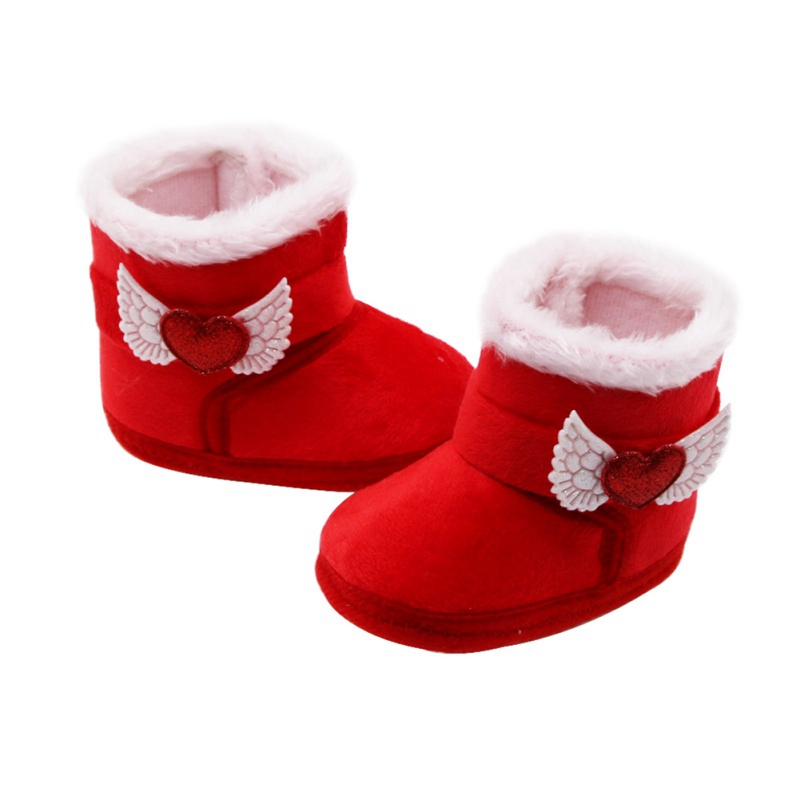 Ins New Winter Baby Boy Girl Cotton Snow Boots With Loves Mid-tube Boots Infant Anti-slip Toddler Shoes