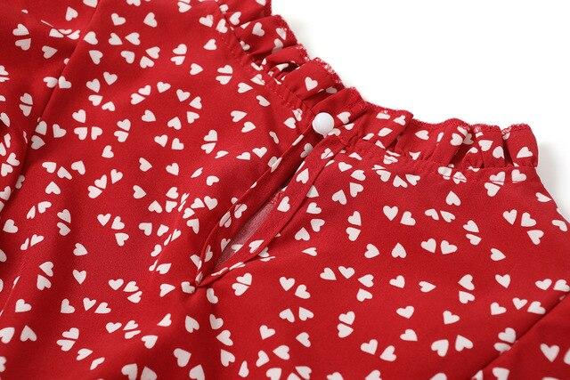 Summer Women Dress Lovely Print Chiffon Loose Dress Red Polka Print Pure And Sweet Dresses Fashion Ruffled Tea Break Dress 2021 6