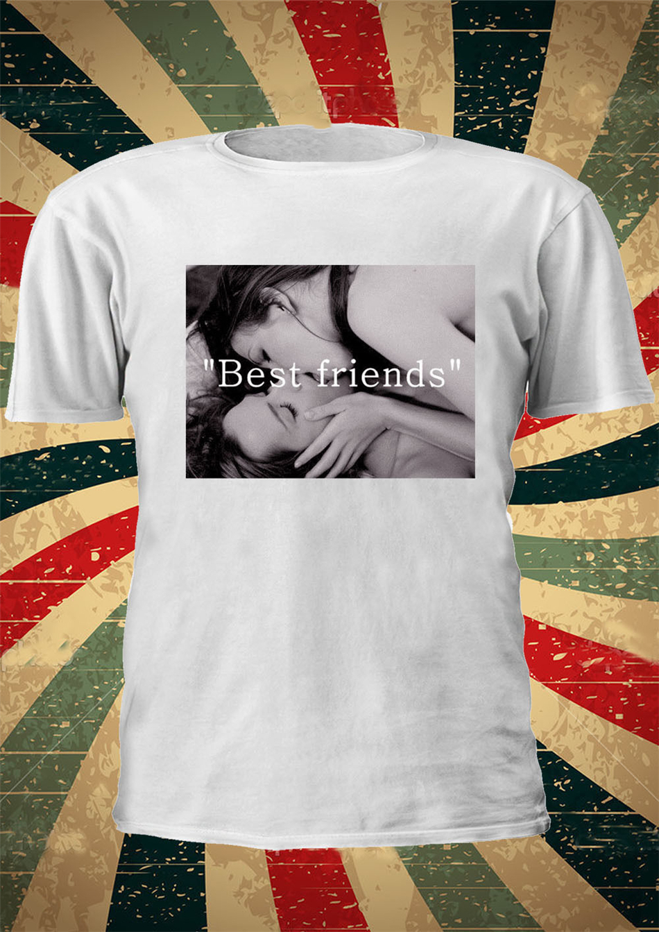 Best Friend Lesbian Kissing Love Tumblr Fashion T Shirt Men Women Unisex 1119 Clothing Funny male Casual Style Tee Shirt image