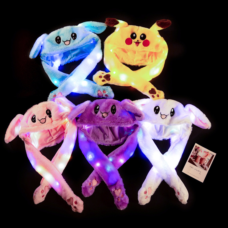 3pcs Dancing Ears Hat Rabbit Ear Hat With A Pinch Of Ears Will Explode The Net Red Balloon Light Emitting Toy