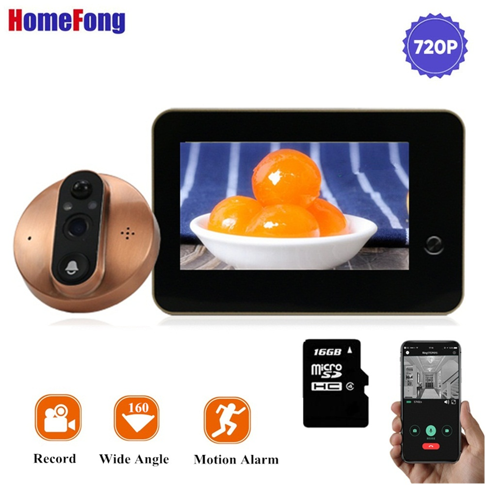 Homefong 4.3 Inch Wifi Peephole Camera Door Viewer Wireless Doorbell USB Charge SD Card Motion Recording Day Nigtht Wide Angle