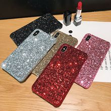 Phone Case for iPhone X XR Glitter Full Sequins Hard XS MAX 6 6s 7 8plus Shinning PC Half Warpped Back Cover