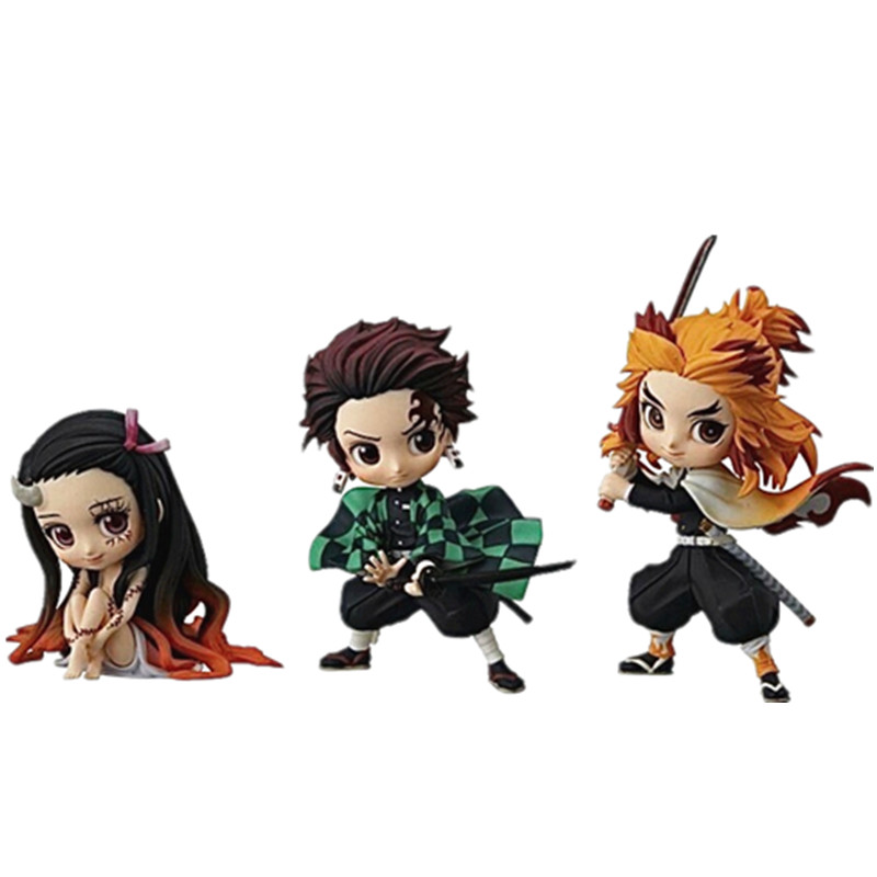 Demon Slayer Tanjirou Rengoku Kyoujurou Nezuko Q Ver PVC Action Figures Toys Anime Kimetsu No Yaiba PVC Figurine Toy 3pcs/set
