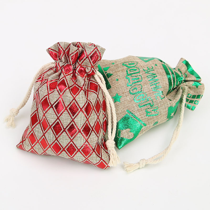 100Pcs Christmas Tree Pattern Linen Bunch Mouth Bag Jewelry Gift Packaging Drawstring Bag New Christmas Bag