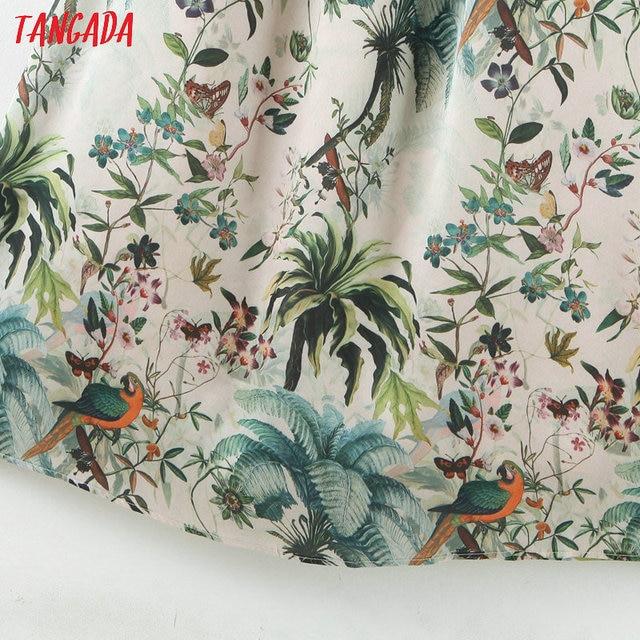 Tangada fashion women leaf print halter sundress with slash 2020 new arrival Ladies midi Dress Vestidos QB148 5