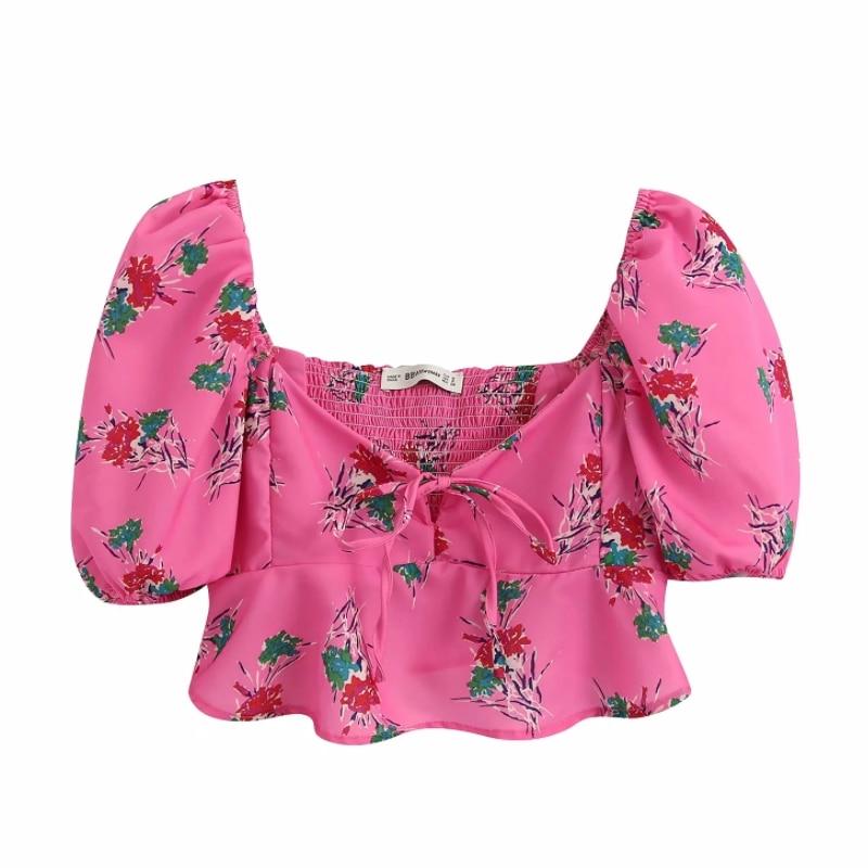 Women Sweet Floral Print Casual Short Shirt Short Sleeve Blouses Women Back Elastic Ruffles Roupas Femininas Chemise Tops LS6415