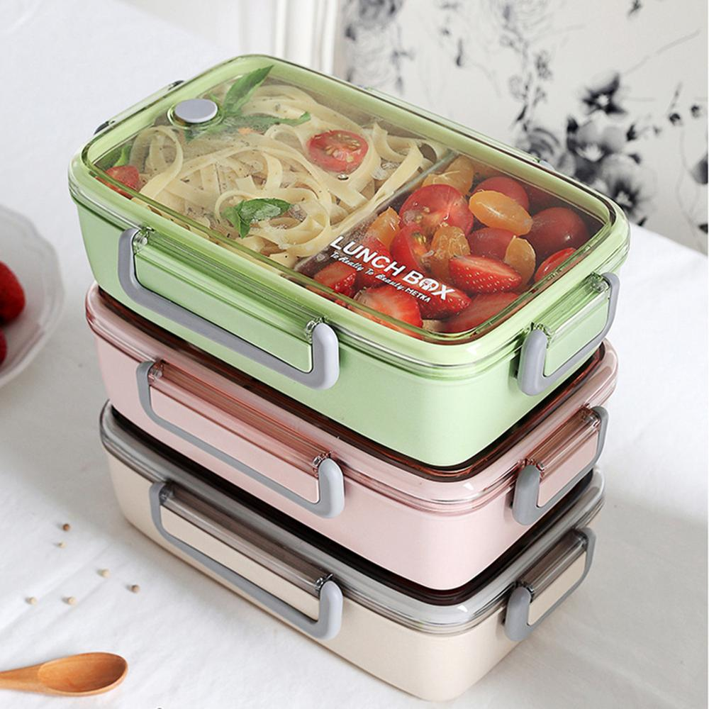 Image 5 - Portable Healthy Material Lunch Box Independent Lattice For Kids Bento Box Microwave Dinnerware Food Storage Container Foodbox-in Lunch Boxes from Home & Garden