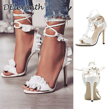 Plus Size 43 Sexy High Heels New Women Shoes Pumps Summer Sandals Lace Up Stiletto Ladies White
