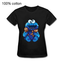 2020 Lucu Rakasa Cookie Pesta Mainan T-shirt Wanita Makan Kue Short Sleeve Tee Tops Anime Rakasa Cookie Leisure T-shirt(China)