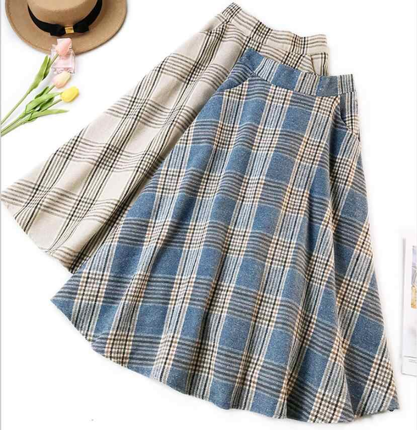 Qooth England Style Blue Beige Plaid High Waist Midi Skirts Woolen Skirts A Line Pleated 2019 Winter Women Tartan Skirts qh2081