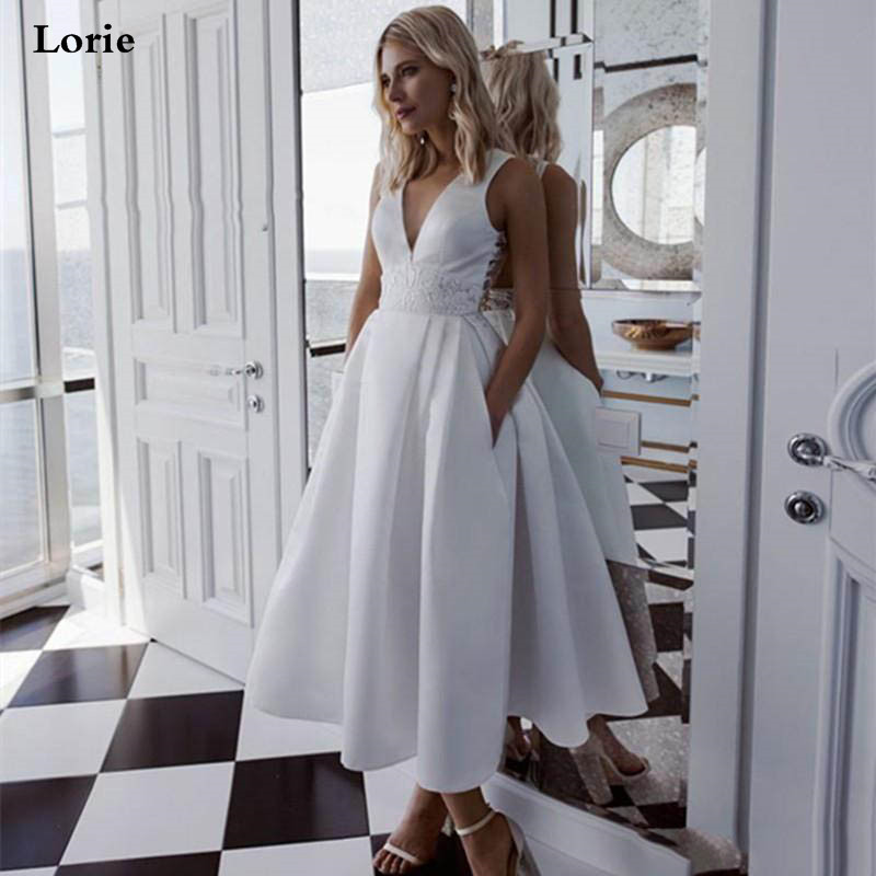 Lorie A-Line Ankle Length Wedding Dresses Satin Plus Size  Country Short  Lace Appliqued Bridal Gowns Vestidos Wedding Gowns