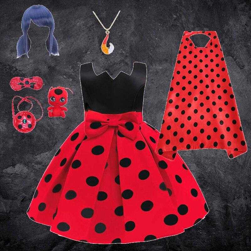 2021 novo carnaval gato noir halloween cosplay traje princesa menina vestido tutu festa de casamento bug vermelho dot roupas para crianças vestidos