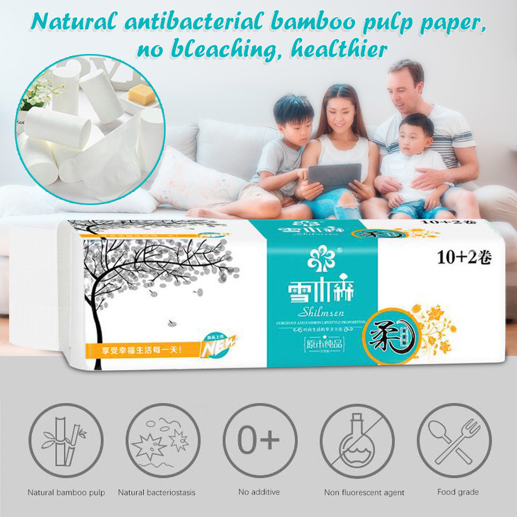 Bath Tissue 12pcs Roll Paper Toilettenpapier Toiley Tissue Bath Paper Rolls 4 Layer Thickened Household Paper #40