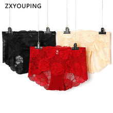 3Pcs/lot Sexy High Waist Lace Panties Women Large Size Briefs Floral Hollow out Transparent Lingerie Female Underwear
