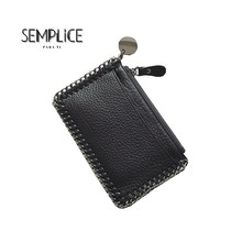 Genuine Leather Purse Simple Chain Mini Women Wallets Multi-Card Wallet Small Zipper Lovely Coin Card Holder High Quality Clutch