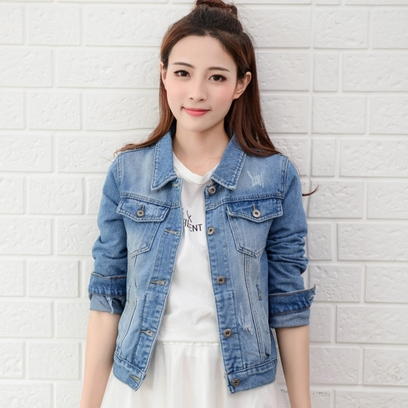 2019 Spring Autumn Fashion Women Jeans Jacket  Hand Brush Long Sleeve Stretch Short Denim Jacket White Pink Coats 2xl Xl