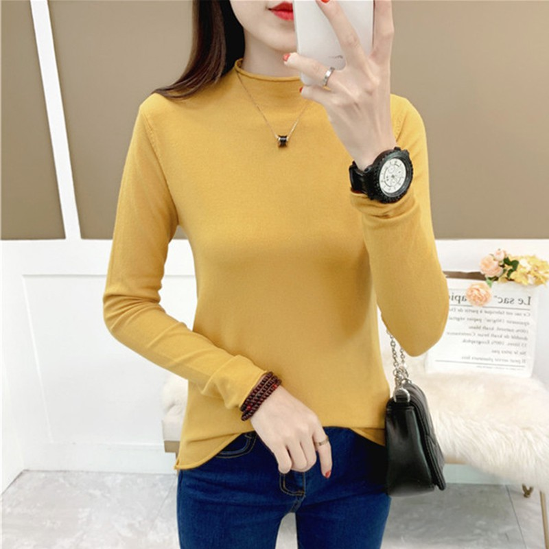 Women Autumn Personalized Curling Sweater Solid Color Slim Long-Sleeved Half High Collar Slim Bottom Knit Pullover Sweater
