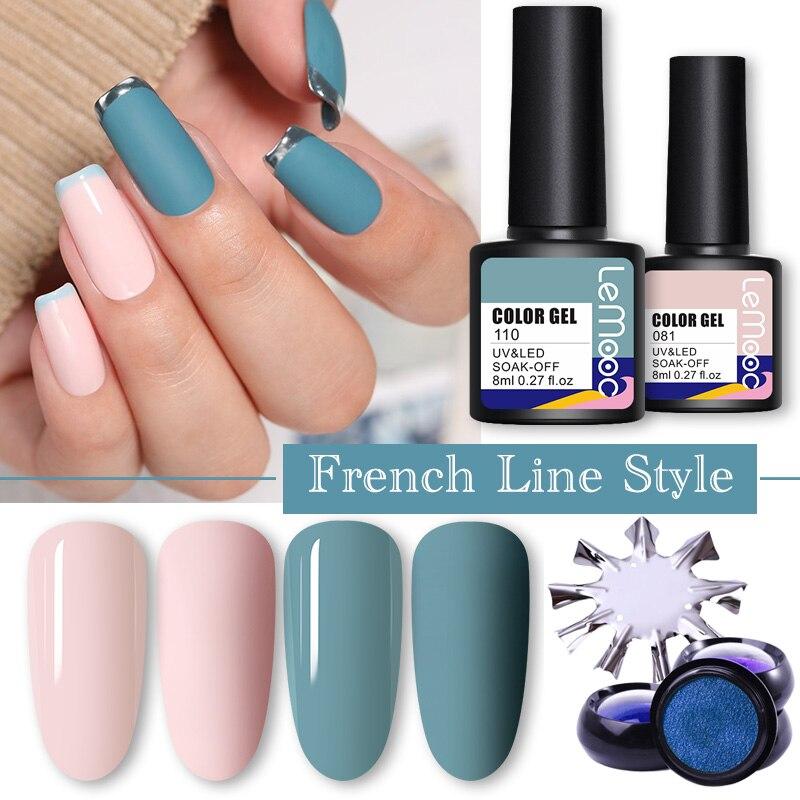 Гель-лак для ногтей LEMOOC французский линейный дизайн «сделай сам» отмачиваемые полуперманентные Лаки зеркальная пудра аксессуары лаки для ...