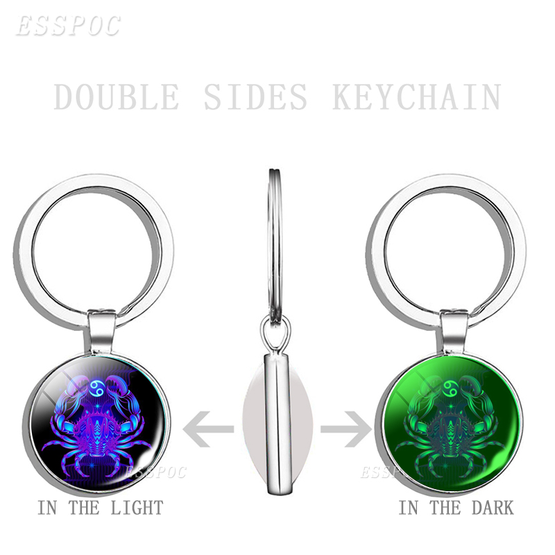 12 Constellation Keychain 12 Zodiac Signs Luminous Double Face Glass Cabochon Key Ring Cancer Leo Pendant Women Birthday Gifts