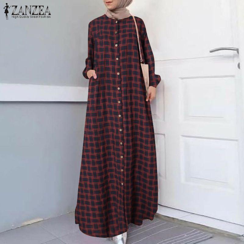 Casual Islamic Clothing Robe Muslim Fashion Dress Spring Maxi Long Dress Women Long Sleeve Button ZANZEA Vintage Hijab Sarafans 1
