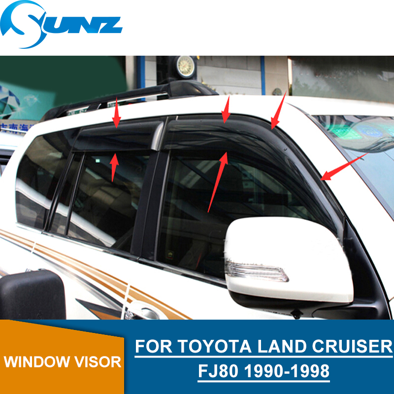 Black wind visor For Toyota LAND CRUISER Fj80 1990-1998 side window deflectors  SUNZ