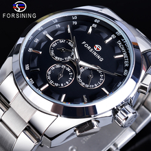 лучшая цена Forsining Mens Mechanical Watches Black 6 Hands Date Automatic Self-Winding Silver Stainless Steel Band Wristwatch Clock Relogio