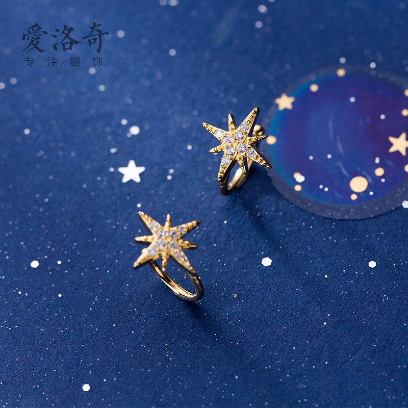 Real 925 sterling Silver Star Ear Clip Female Korean Small Fresh cz crystal zircon Insert Sweet no Ear Hole Jewellery party gift in Earrings from Jewelry Accessories