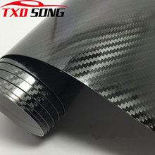 10/20/30x152cm Car Styling Glossy Black 5D Carbon Fiber Vinyl film Car Wrap With Air Free Bubble DIY Car Tuning Part Sticker(China)