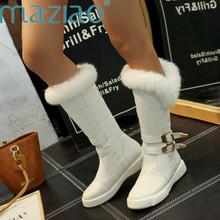 Nowa moda zima klamra futerkowe buty kobiet płaskie buty wsuwane buty do połowy łydki buty biały czarny metalowe dekoracje damskie buty MAZIAO tanie tanio Slip-on Stałe QM824-2 Pasuje prawda na wymiar weź swój normalny rozmiar Okrągły nosek Mieszkanie z Buty śniegu Pluszowe
