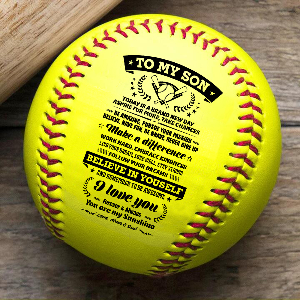 Dad And Mom To My Son, Remember How Much You Are Loved with a meaningful message printed on the ball softballgift.