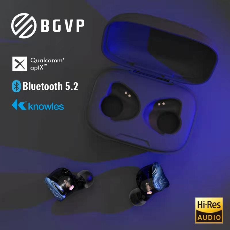 BGVP Q2S Bluetooth 5.2 Earphone Earplugs TWS True Wireless Detachable Cable In-Ear HIFI Fever Music Headphone Earbuds MMCX