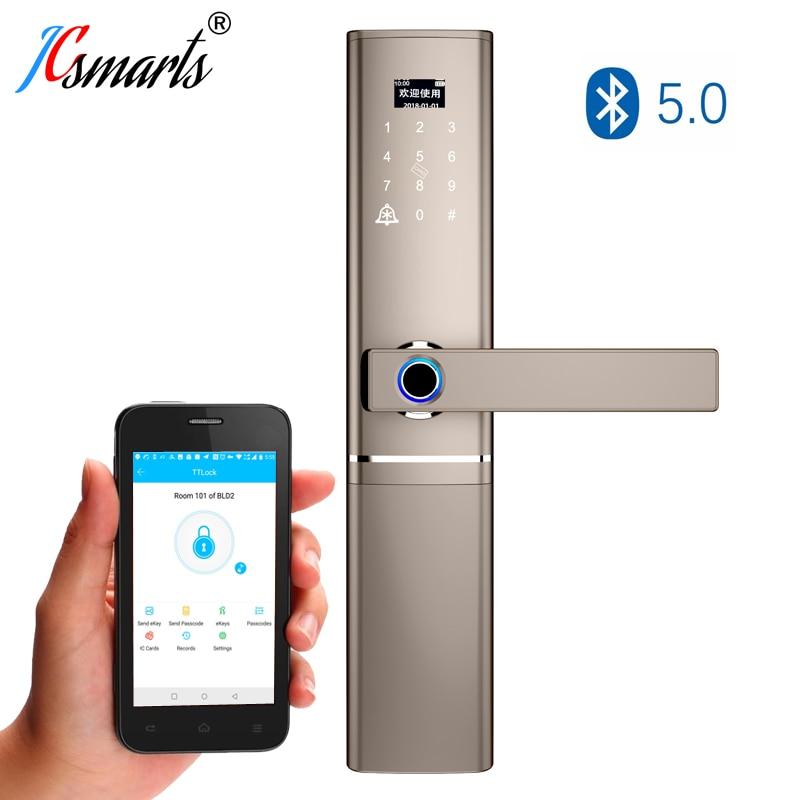 Apartment Biometric Fingerprint Lock Electronic Security Door Lock Smart Bluetooth app WiFi Password IC Card Key Knob locks|Electric Lock| |  - title=