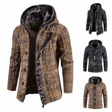 Men Coats Thick Hooded Cardigan Winter Cardigan Sweater Men Sweater Striped Mens Clothes Sweaters 2021 M-2XL British
