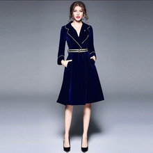 Women Velvet Long Coat 2019 New Autumn Winter High-end Fashion Office Lady A-Line Solid Belt Turn-down Collar Dress Woolen Coat cheap CN(Origin) Full Polyester Trench Sashes WT17 Solid color Royal Blue M L XL XXL Self-cultivation type Temperament commuting