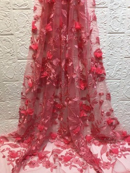 High quality african french tulle lace fabric with beautiful beads 3d flower pattern design french net lace for wedding ZX3068