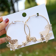 Butterfly Earrings Huggie Jewelry Circle Round Gold Bohemian Women's Luxurious Metal