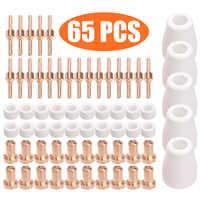 Kit de electrodos y boquillas de corte por Plasma de 65 piezas accesorios consumibles para soldadura por Plasma de corte PT31 30 40 50 herramientas