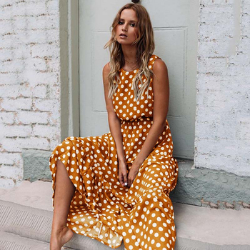 2020 Summer Dress Women Sleeveless Elegant Print Dresses Fashion Casual Round Neck Maxi Dress All-match Polka Dot Print Dress dot print round gasbag phone holder