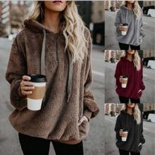 Winter Warm Casual Double Fuzzy 1/4 Zip Sweatshirt Faux Fleece Pocket Long Sleeve Oversize Sherpa Pullover Hoodies Coat Outwear цена