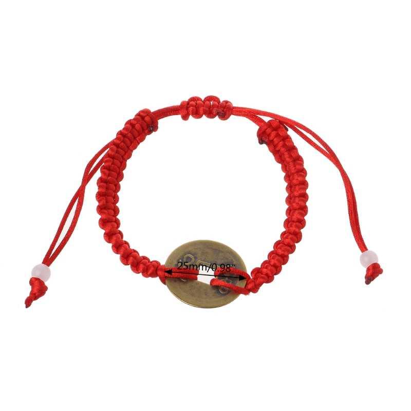 Feng Shui chino de la suerte y la fortuna moneda de cobre colgante pulseras de hilo rojo joyería