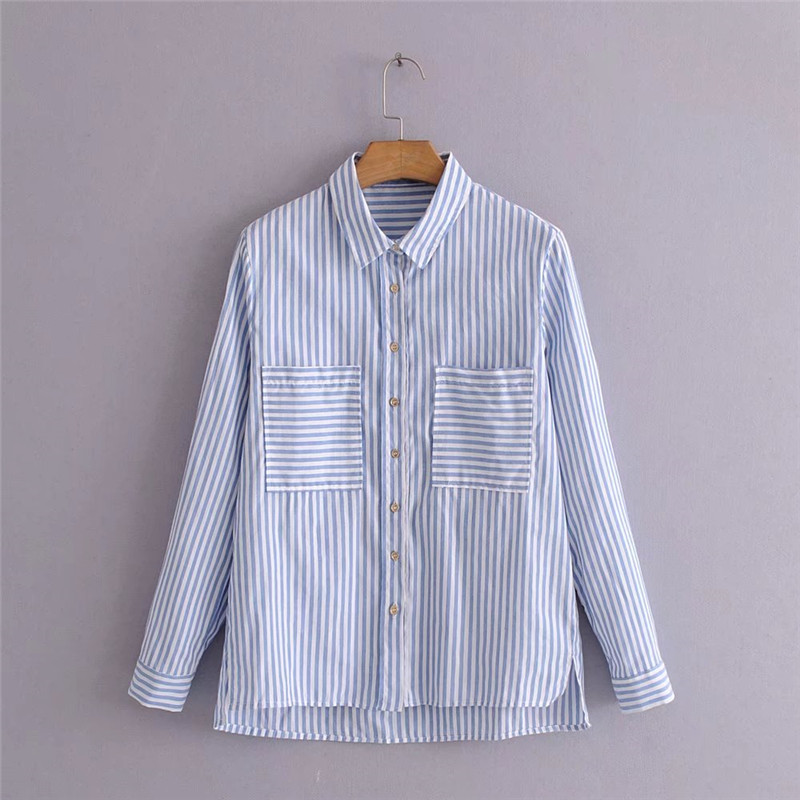 2020 summer fashion new blue and white striped long sleeved ladies were thin and versatile shirt 1027# Blouses & Shirts  - AliExpress