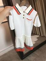 2020 New Toddler Girls Clothing Dress White Boutique Brand Outwear Letter Printed Brand Cotton Outweat Grisl Dress