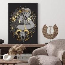 Peinture sur toile gothique Wicca, crâne, Tarot, OuiJa, païen magique, Medusa, Dollmaker, affiche murale, image d'art, Ram, sorcières, imprimés décoratifs