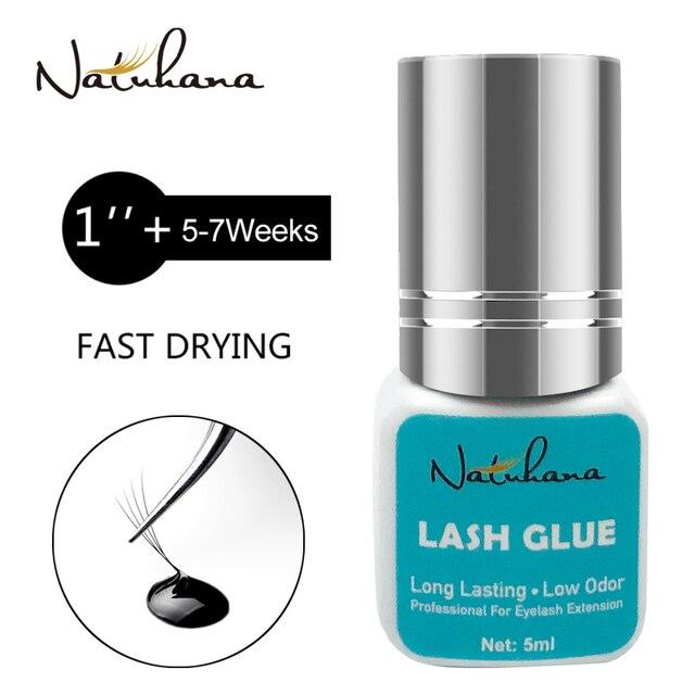 NATUHANA 5ml Eyelash Extension Glue 1 Seconds Fast Drying Eyelashes Glue Pro Black Lash Glue Makeup Tool Adhesive