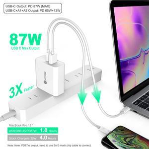 Image 2 - 2 พอร์ต 87W USB C Power Adapter,1 พอร์ตPD87W QC3.0 1 พอร์ตUSB 12W CHANGERสำหรับPro 8/X/11 Pro USB Cแล็ปท็อปS8/S10 เปลี่ยน