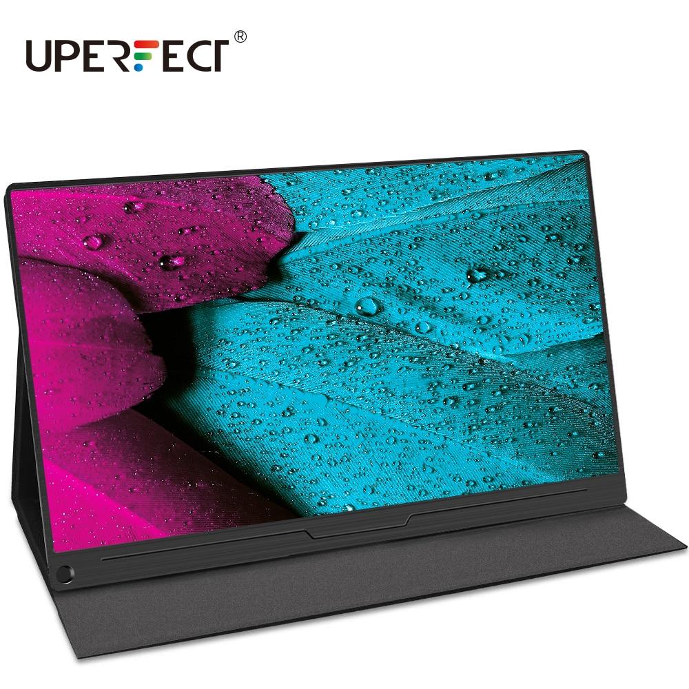 Uperfect monitor portátil 15.6 Polegada ips hdr 1920x1080 fhd tela de cuidados com os olhos usb c tela do jogo alto-falante duplo computador exibição