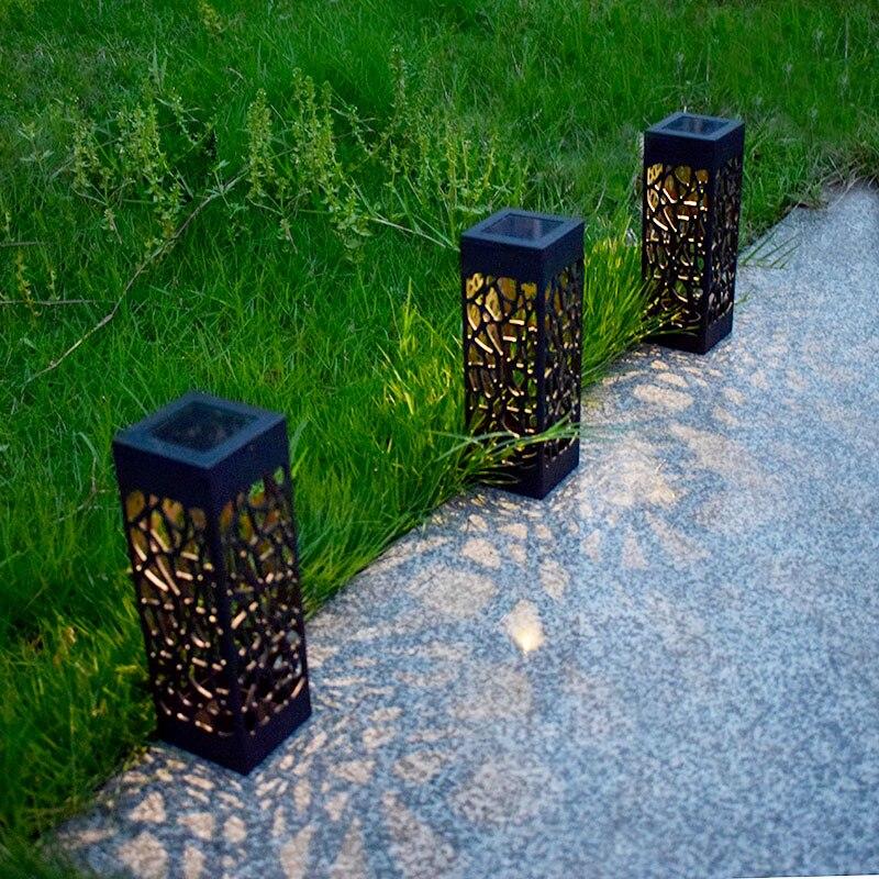 Luce solare Del Prato Giardino Hollow Impermeabile Lampada di Via di Illuminazione Decorativa Bella Percorso Le Lampadine del Punto di Paesaggio Della Decorazione Della Casa